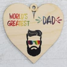 Printed 9.5cm Wood Heart cut from 3mm Ply Dad Daddy Fathers Day Gift - Greatest